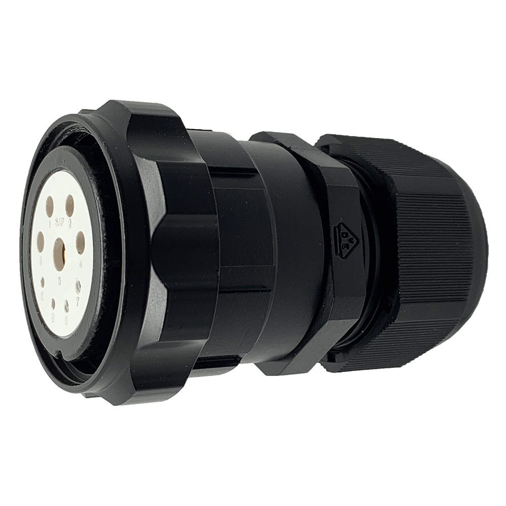 CEEP 920639J000SJ20, 39J, 9 pin female inline connector, with locking ring, solder contacts 4 x 10A, 4 x 25A, & 1 x 10A, IP67, black non-conductive finish.