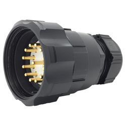 CEEP 9206413AB0PE0, 413AB, 13 pin male inline connector, with locking ring, solder contacts 13 x 25A, IP67, nickel conductive finish.