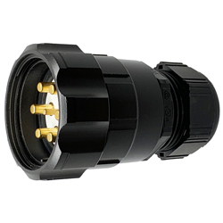 CEEP 920647M000PE20, 47M, 7 pin male inline connector, with locking ring, solder contacts 1 x 25A, 6 x 50A, IP67, black non conductive finish.