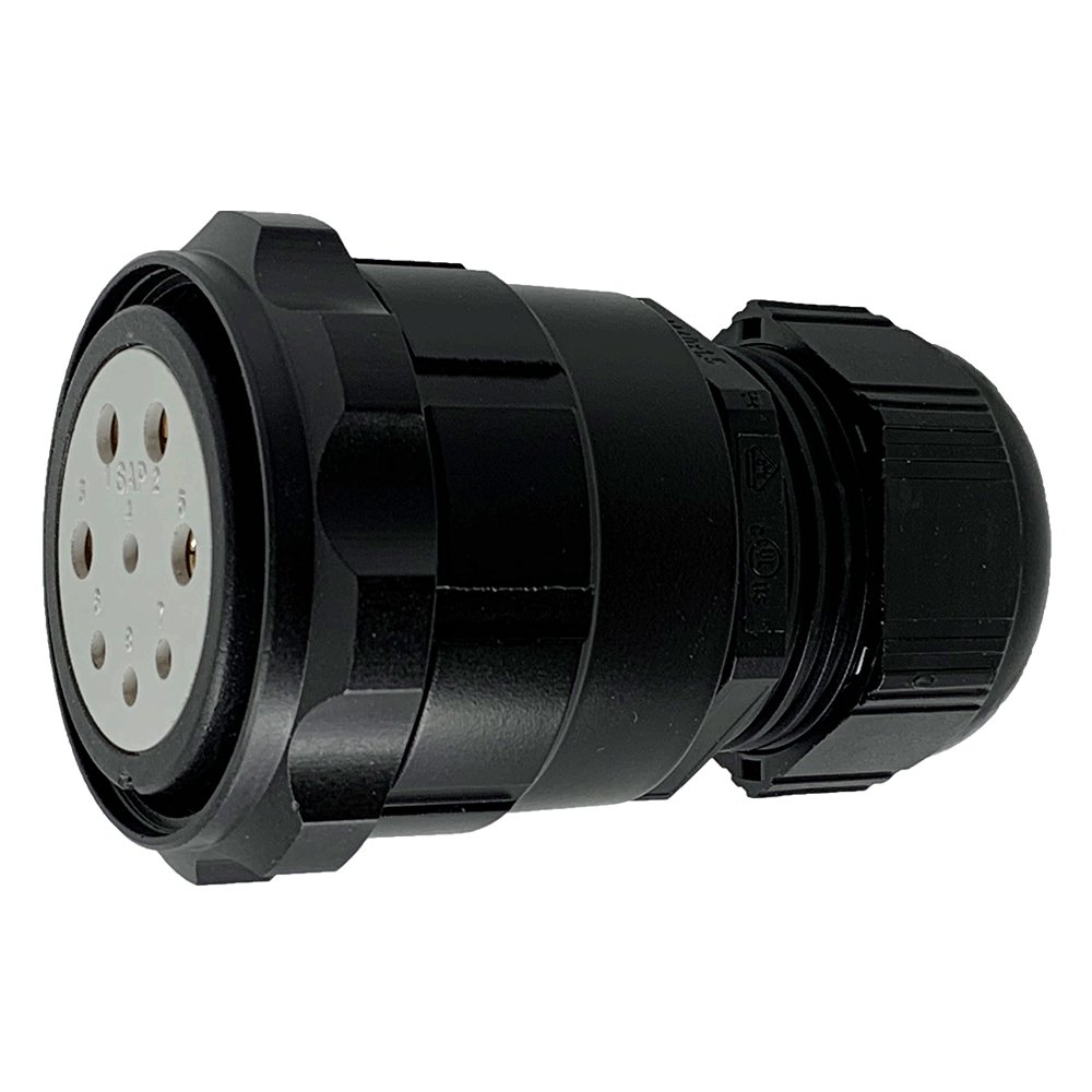 CEEP 920648M000SE20, 48M, 8 pin male inline connector, with locking ring, solder contacts 4 x 25A, 4 x 50A, IP67, black non conductive finish.