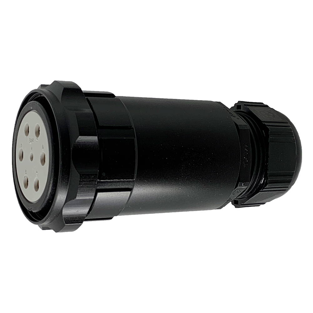 CEEP 920747M000SE20, 47M, 7 pin female inline connector, with locking ring, solder contacts 1 x 25A, 6 x 50A, IP67, black non conductive finish.