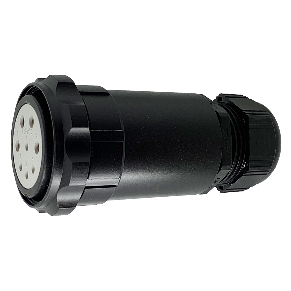 CEEP 920748M000SE20, 48M, 8 pin female extended inline connector, with locking ring, solder contacts 4 x 25A, 4 x 50A, IP67, black non conductive finish.