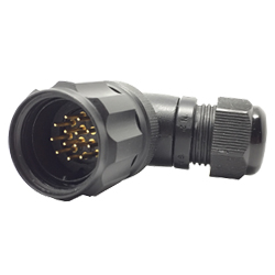 CEEP 9208213AN0PA20, 213AN, 13 pin male right angle connector, with locking ring, 13 x 10A Solder Contacts, IP67, black non conductive finish.