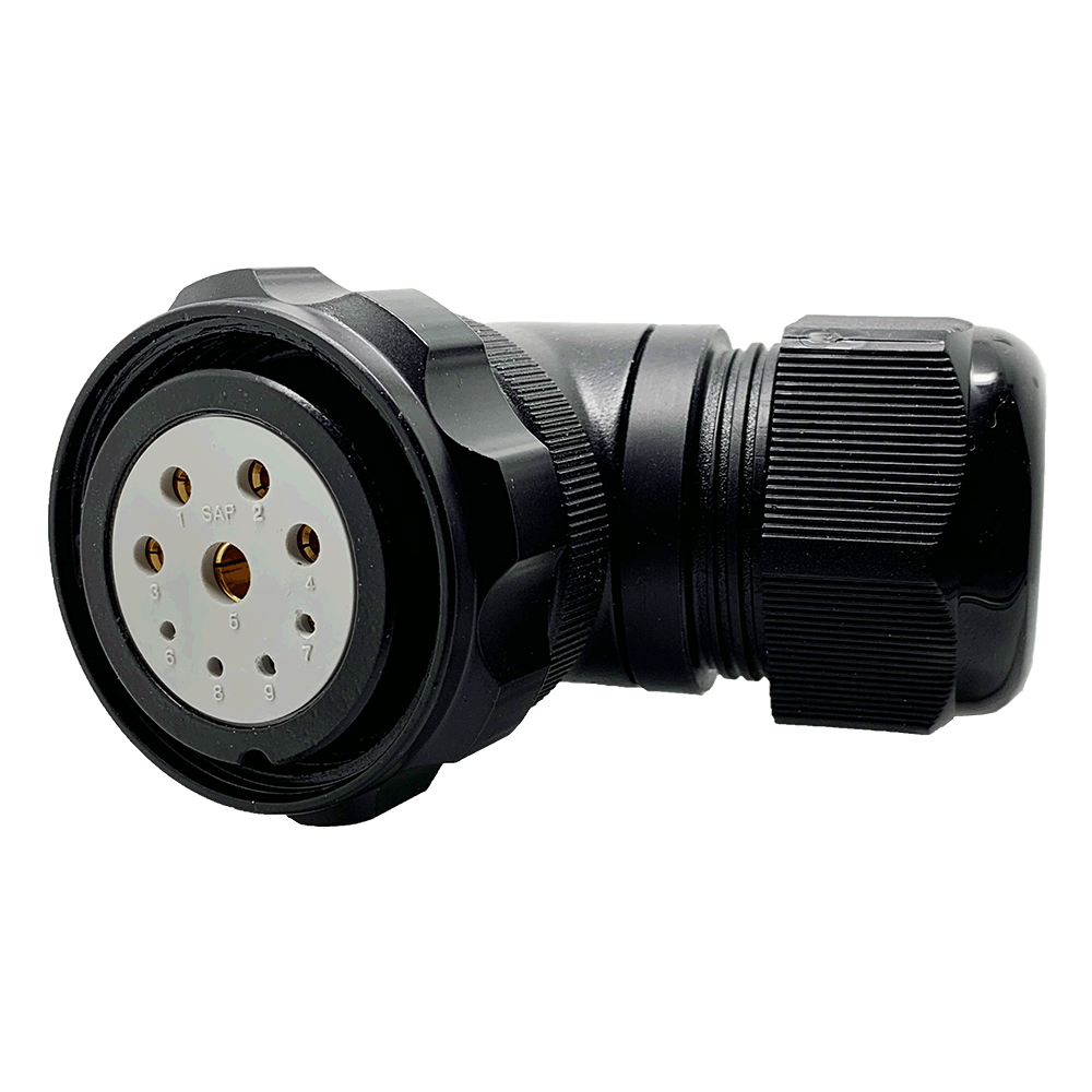 CEEP 920839J000SD20, 39J, 9 pin female right angle connector, with locking ring, solder contacts 4 x 10A, 4 x 25A, & 1 x 10A, IP67, black non-conductive finish.