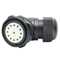 CEEP 9208413AB0SD2, 413AB, 13 pin female right angle connector, with locking ring, solder contacts 13 x 25A, IP67, black non conductive finish.