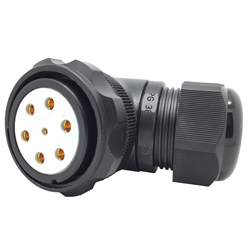 CEEP 920847M000SD20, 47M, 7 pin female right angle connector, with locking ring, solder contacts 1 x 25A, 6 x 50A, IP67, black non conductive finish.