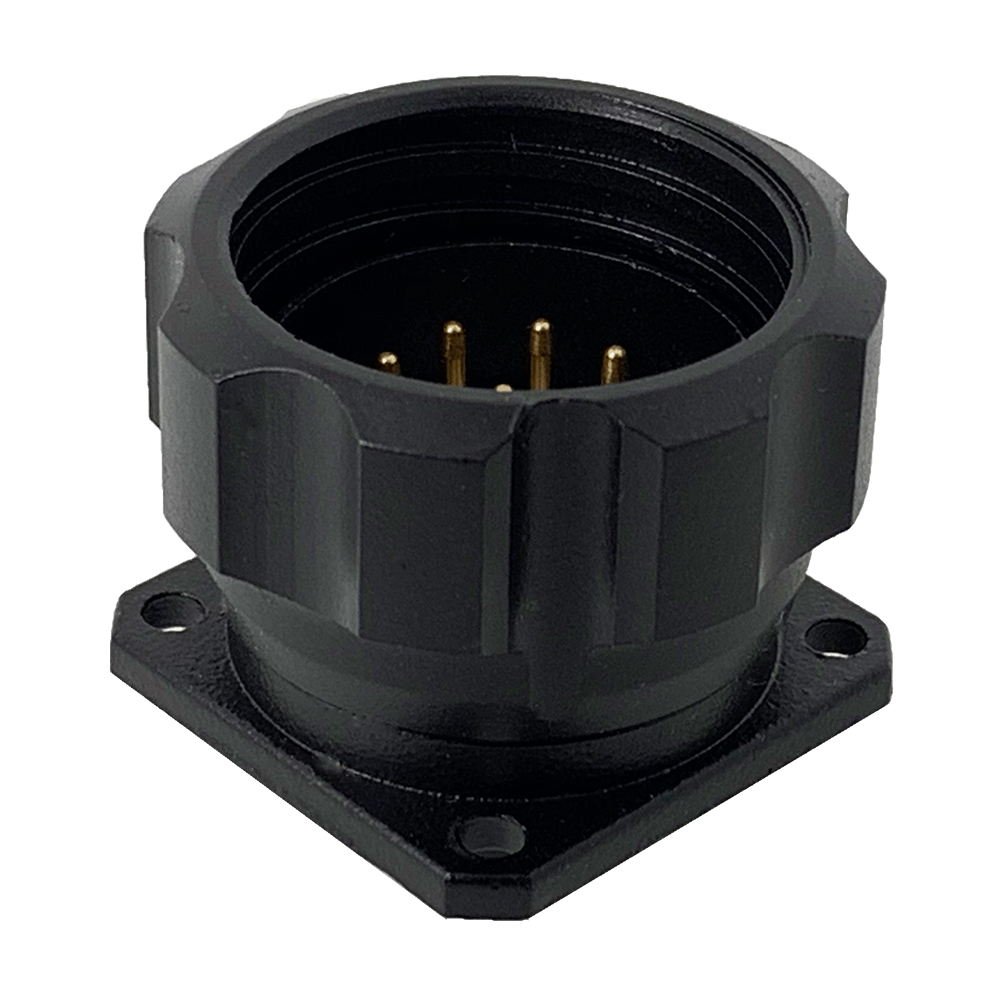 CEEP 9209210AO0P020, 210AO, 10 pin male panel connector, with locking ring, solder contacts 10 x 10A, IP67, black non-conductive finish.