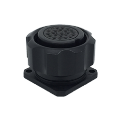 CEEP 9209222P00S020, 222P, 22 pin female panel connector, with locking ring, 22 x 7.5A Solder Contacts, IP67, black non conductive finish.