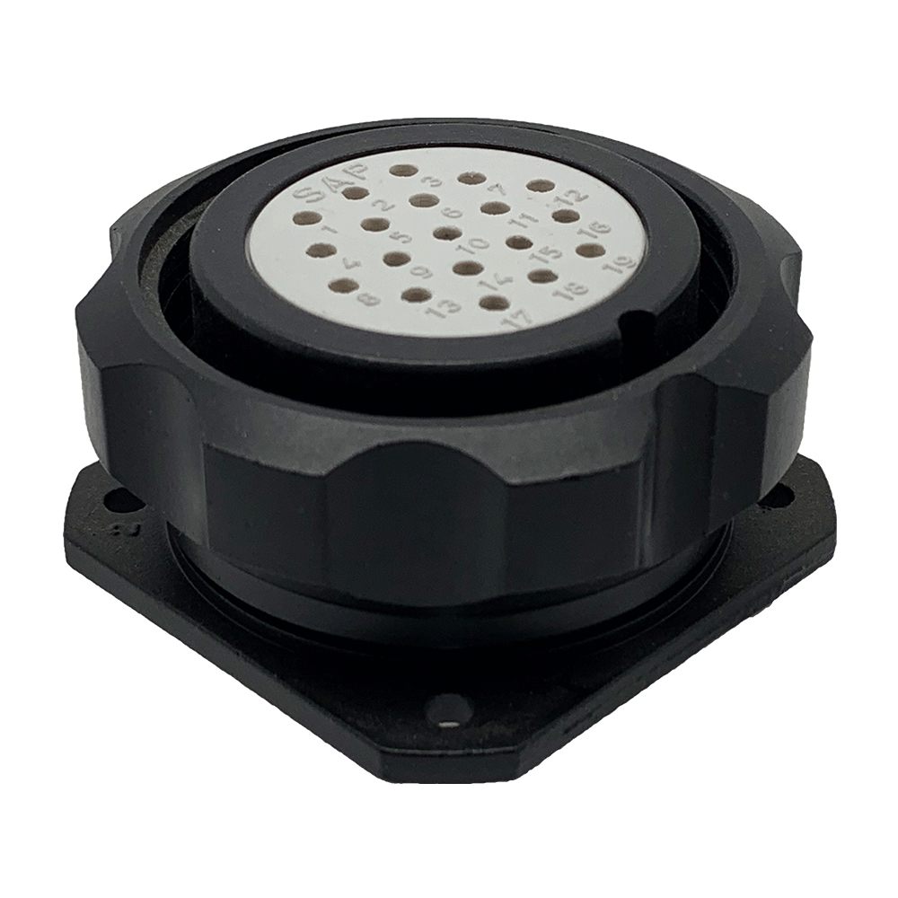 CEEP 9209319L00S020, 319L, 19 pin female panel connector, without locking ring, 19 x 10A Solder Contacts, IP67, black non conductive finish.