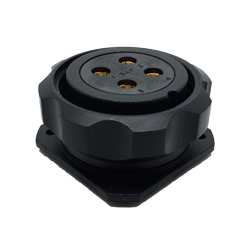 CEEP 920934H000S02, 34H, 4 pin female panel connector, with locking ring, solder contacts 4 x 50A, IP67, black non-conductive finish.