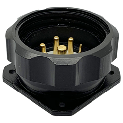 CEEP 920939J000P020, 39J, 9 pin male inline connector, with locking ring, solder contacts 4 x 10A, 4 x 25A, & 1 x 10A, IP67, black non-conductive finish.