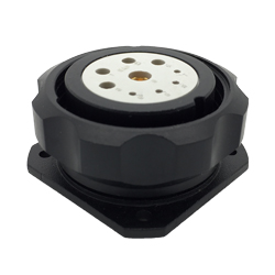 CEEP 920939J000S020, 39J, 9 pin female inline connector, with locking ring, solder contacts 4 x 10A, 4 x 25A, & 1 x 10A, IP67, black non-conductive finish.