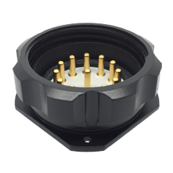 CEEP 9209413AB0P020, 413AB, 13 pin male panel connector, with locking ring, solder contacts 13 x 25A, IP67, black non conductive finish.