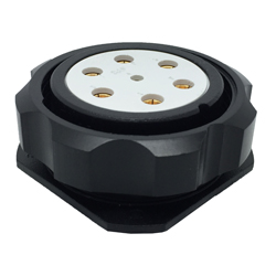 CEEP 920947M000S020, 47M, 7 pin female panel connector, without locking ring, solder contacts 1 x 25A, 6 x 50A, IP67, black non conductive finish.