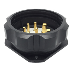 CEEP 920948M000P020, 48M, 8 pin male panel connector, with locking ring, solder contacts 4 x 25A, 4 x 50A, IP67, black non conductive finish.