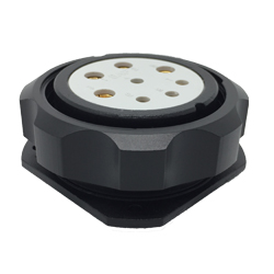 CEEP 920948M000S020, 48M, 8 pin female panel connector, with locking ring, solder contacts 4 x 25A, 4 x 50A, IP67, black non conductive finish.
