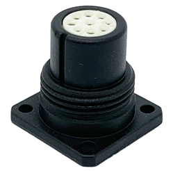 CEEP 920219CD00S020, 19CD, 9 pin female panel connector, without locking ring, crimp contacts 9 x 7.5A, IP67, black non-conductive finish.