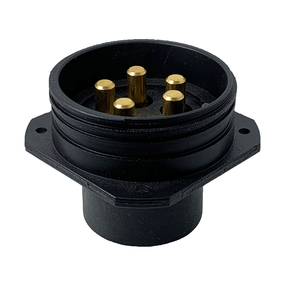 CEEP 920245CX00P02, 45CX, 5 pin male panel connector, without locking ring, crimp contacts 5 x 80A, IP67, black non-conductive finish.