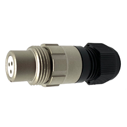 920113U000SD00, 13U, 3 pin female inline connector, without locking ring, solder contacts 3 x 10A, IP67, nickel conductive finish.