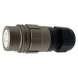 CEEP 920123AL00SA00, 23AL, 3 pin female inline connector, without locking ring, solder contacts 3 x 10A, IP67, nickel conductive finish.