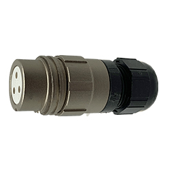 CEEP 920123C000SA00, 23C, 3 pin female inline connector, without locking ring, solder contacts 3 x 25A, IP67, nickel conductive finish.