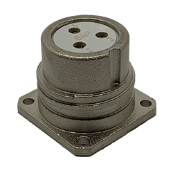 CEEP 920223C000S000, 23C, 3 pin female panel connector, without locking ring, solder contacts 3 x 25A, IP67, nickel conductive finish.