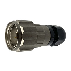 CEEP 920623AL00PA00, 23AL, 3 pin male inline connector, with locking ring, solder contacts 3 x 10A, IP67, nickel conductive finish.