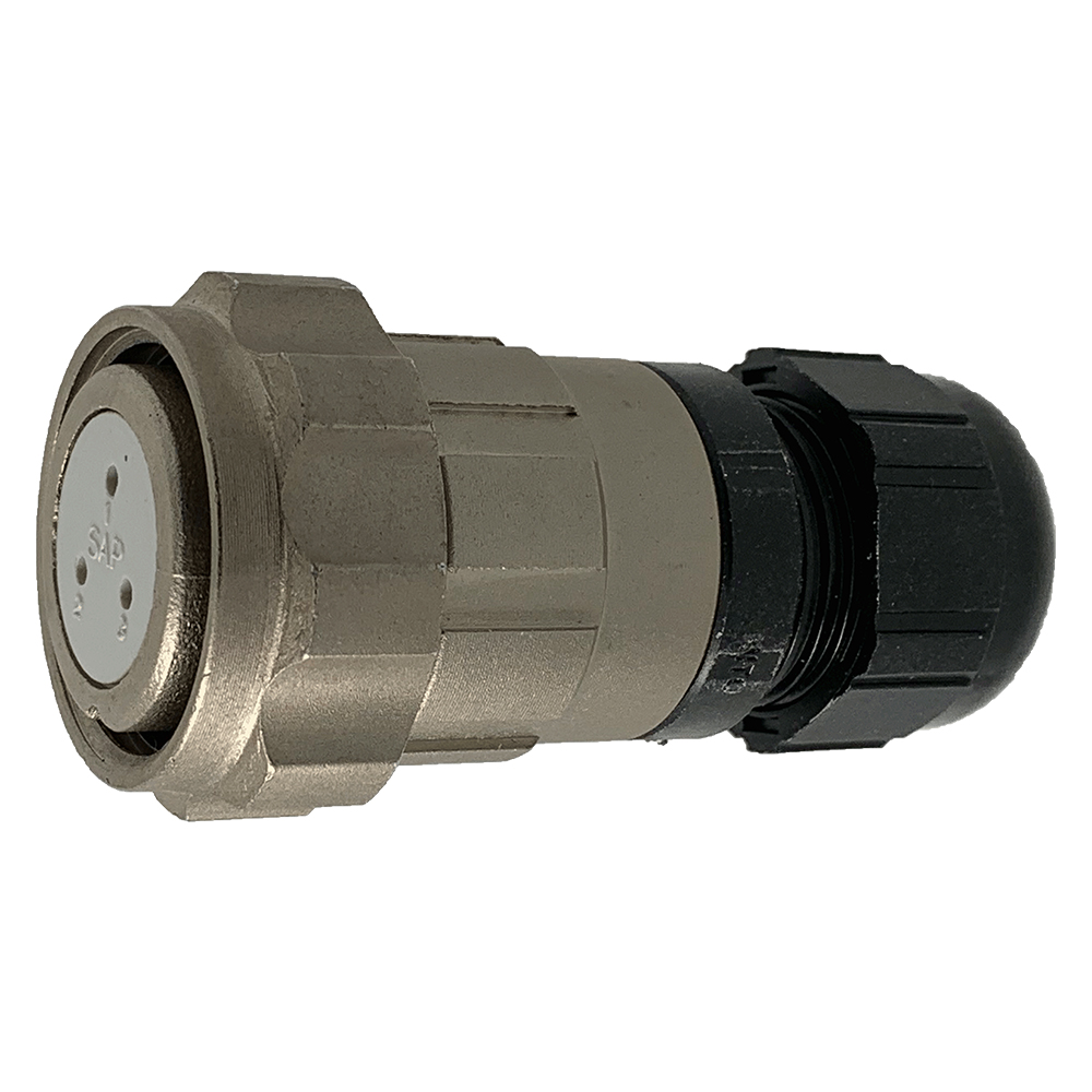 CEEP 920623AL00SA0, 23AL, 3 pin female inline connector, with locking ring, solder contacts 3 x 10A, IP67, nickel conductive finish.