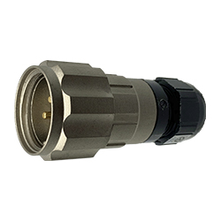CEEP 920623C000PA00, 23C, 3 pin male inline connector, with locking ring, solder contacts 3 x 25A, IP67, nickel conductive finish.