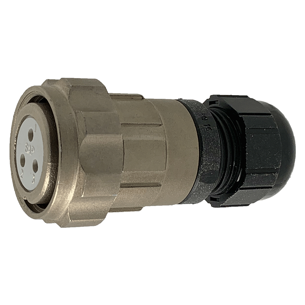 CEEP 920623C000SA00, 23C, 3 pin female inline connector, with locking ring, solder contacts 3 x 25A, IP67, nickel conductive finish.