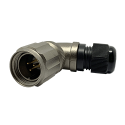 920813U000PD00, 13U, 3 pin male right-angle connector, with locking ring, solder contacts 3 x 10A, IP67, nickel conductive finish.