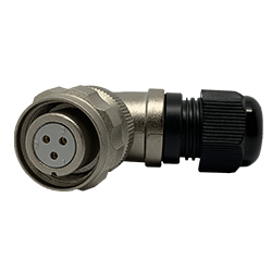 920813U000SD00, 13U, 3 pin female right-angle connector, with locking ring, solder contacts 3 x 10A, IP67, nickel conductive finish.