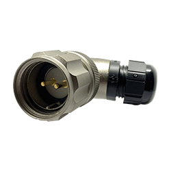 920822B000PA0, CEEP, 22B, 2 pin male right angle connector, with locking ring. 6-12mm cable gland, 2 x 25A solder contacts, IP67, nickel conductive finish.