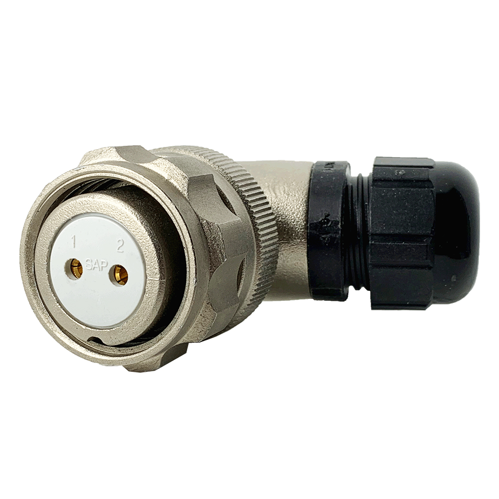 920822B000SA0, CEEP, 22B, 2 pin female right angle, with locking ring. 6-12mm cable gland, 2 x 25A solder contacts, IP67, nickel conductive finish.