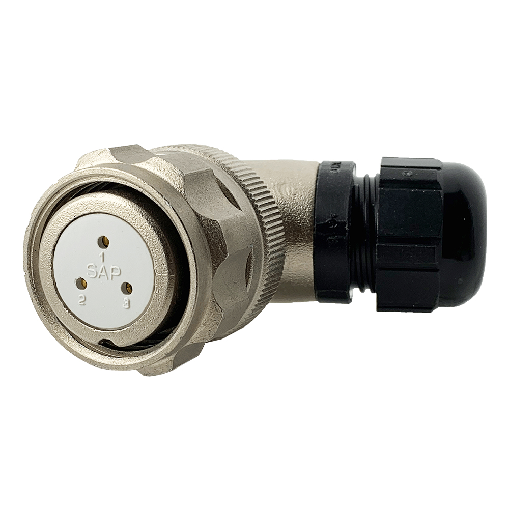 CEEP 920823AL00SB0, 23AL, 3 pin female right-angle connector, with locking ring, solder contacts 3 x 10A, IP67, nickel conductive finish.