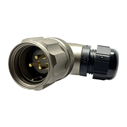 CEEP 920823C000PA0, 23C, 3 pin male right-angel connector, with locking ring, solder contacts 3 x 25A, IP67, nickel conductive finish.