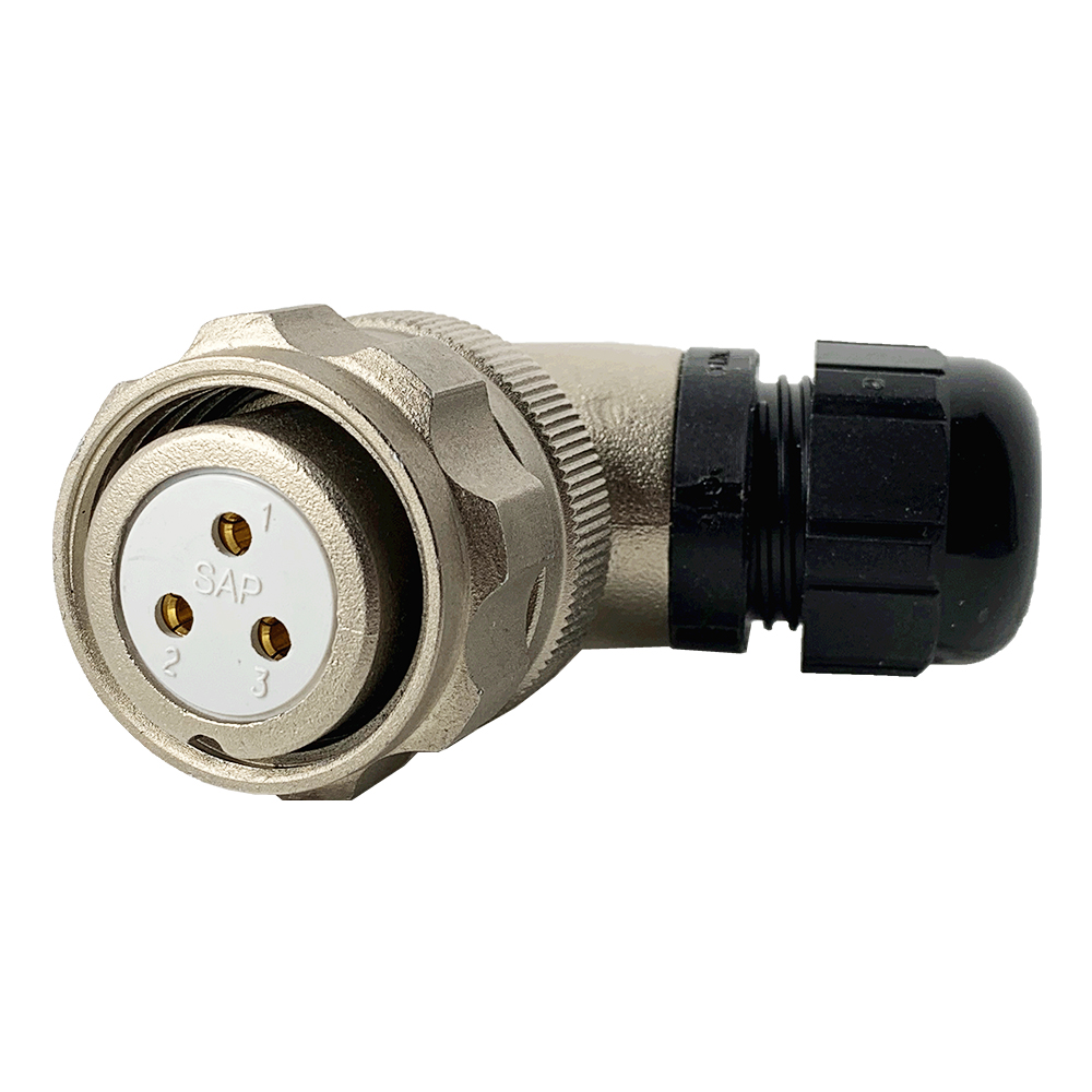 CEEP 920823C000SA00, 23C, 3 pin female right-angel connector, with locking ring, solder contacts 3 x 25A, IP67, nickel conductive finish.