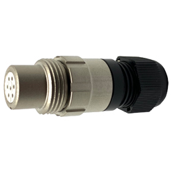 CEEP 920117P000SD00, 17P, 7 pin female inline connector, without locking ring, solder contacts 7 x 7.5A, IP67, nickel conductive finish.