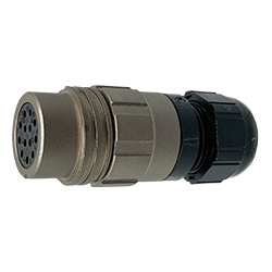 CEEP 9201213AN0SA00, 213AN, 12 pin female inline connector, without locking ring, 13 x 10A Solder Contacts, IP67, nickel conductive finish.