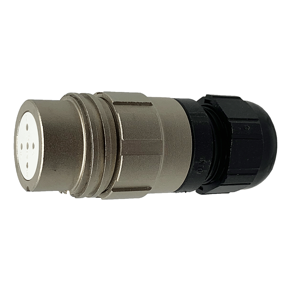 CEEP 920125S000SA0, 25S, 5 pin female inline connector, without locking ring, solder contacts 5 x 10A, IP67, nickel conductive finish.