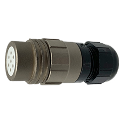 CEEP 920127E000SA00, 27E, 7 pin female inline connector, without locking ring, solder contacts 7 x 10A, IP67, nickel conductive finish.