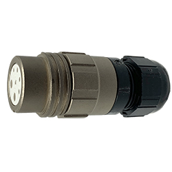 CEEP 920127X000SA00, 27X, 7 pin female inline connector, without locking ring, solder contacts 5 x 10A and 2 x 25A, IP67, nickel conductive finish.