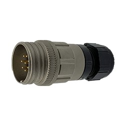 CEEP 920128T000PA00, 28T, 8 pin male inline connector, without locking ring, crimp contacts 8 x 10A, IP67, nickel conductive finish.
