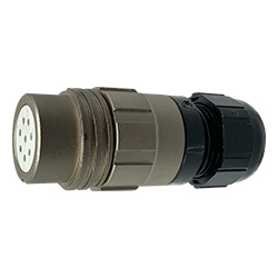 CEEP 920128T000SA00, 28T, 8 pin female inline connector, without locking ring, crimp contacts 8 x 10A, IP67, nickel conductive finish.