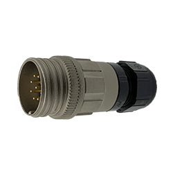 CEEP 920129AE00PB00, 29AE, 9 pin male inline connector, without locking ring, solder contacts 9 x 10A, IP67, nickel conductive finish.