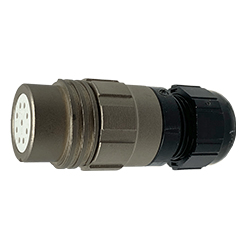 CEEP 920129AE00SB0, 29AE, 9 pin female inline connector, without locking ring, solder contacts 9 x 10A, IP67, nickel conductive finish.