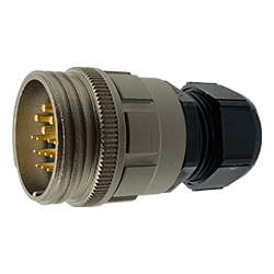 CEEP 9201315K00PG00, 315K, 15 pin male inline connector, without locking ring, 4 x 25A & 11 x 10A Solder Contacts, IP67, nickel conductive finish.