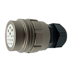 CEEP 9201315K00SF00, 315K, 15 pin female inline connector, without locking ring, 4 x 25A & 11 x 10A Solder Contacts, IP67, nickel conductive finish.