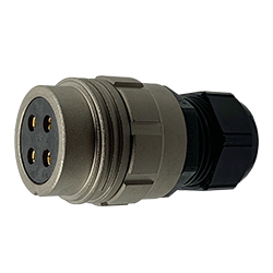 CEEP 920134H000SF0, 34H, 4 pin female inline connector, without locking ring, solder contacts 4 x 50A, IP67, nickel conductive finish.