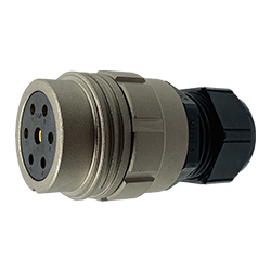 CEEP 920137Y000SF00, 37Y, 7 pin female inline connector, without locking ring, solder contacts 6 x 25A, 1 x 50A, IP67, nickel conductive finish.